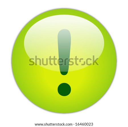 Glassy Green Exclamation Icon Button - stock photo