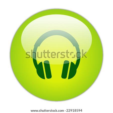 Glassy Green Headphone Icon - stock photo