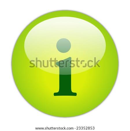 Glassy Green Information Icon - stock photo