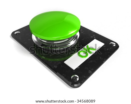 Glassy green OK Button - stock photo