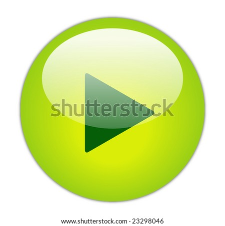 Glassy Green Play Icon - stock photo