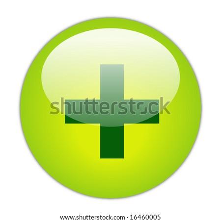 Glassy Green Plus Icon Button - stock photo