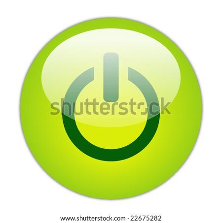 Glassy Green Power Icon Button - stock photo