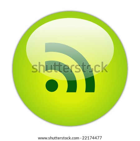 Glassy Green RSS Icon Button - stock photo