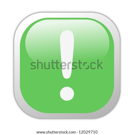 Glassy Green Square Exclamation Icon Button - stock photo