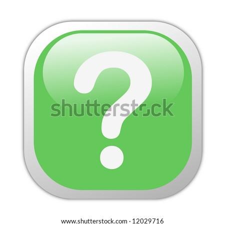 Glassy Green Square Question Mark Icon Button - stock photo