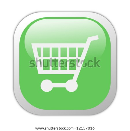 Glassy Green Square Shopping Cart Icon Button - stock photo