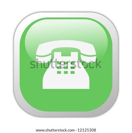Glassy Green Square Telephone Icon Button - stock photo