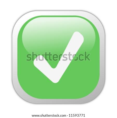 Glassy Green Square Tick Button - stock photo