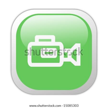 Glassy Green Square Video Camera Icon Button - stock photo
