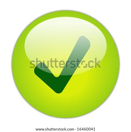 Glassy Green Tick Icon Button - stock photo
