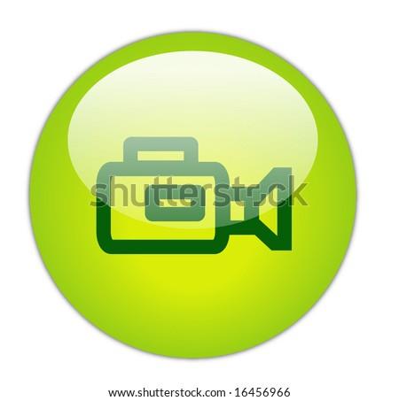 Glassy Green Video Camera Icon Button - stock photo