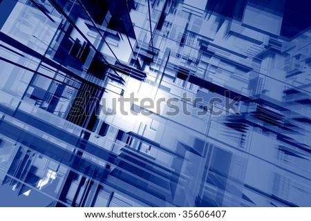 Glassy orthogonal spatial environment - digital 3d artwork - stock photo