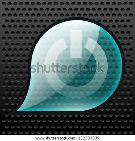 Glassy power button in a transparent droplet on modern background - stock photo