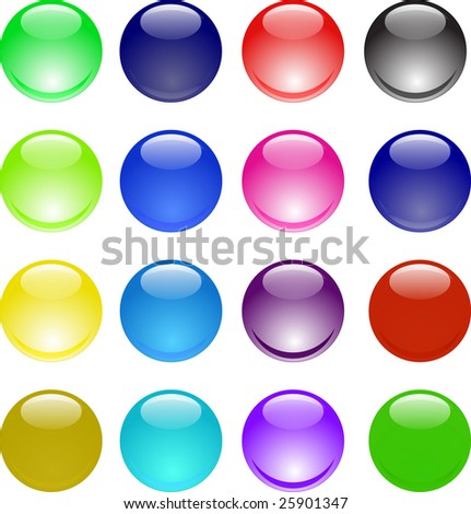Glassy shining 3d sphere icon set raster