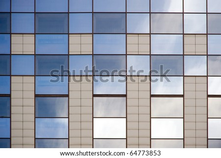 Glassy wall surface. - stock photo
