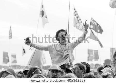 Glastonbury, Somerset, UK - June 27, 2015 - Festival goer enjoying Ben Howard playing Glastonbury Festival's Other Stage