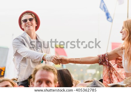 Glastonbury, Somerset, UK - June 27, 2015 - Festival goers enjoying Ben Howard playing Glastonbury Festival's Other Stage - stock photo