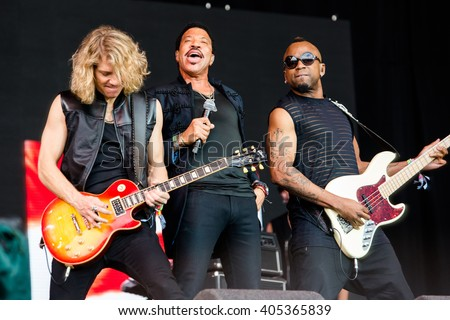Glastonbury, Somerset, UK - June 28, 2015 - Lionel Richie and band playing Glastonbury Festival's Pyramid Stage - stock photo