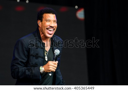 Glastonbury, Somerset, UK - June 28, 2015 - Lionel Richie playing Glastonbury Festival's Pyramid Stage - stock photo