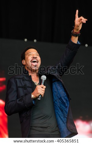 Glastonbury, Somerset, UK - June 27, 2015 - Lionel Richie playing Glastonbury Festival's Pyramid Stage - stock photo