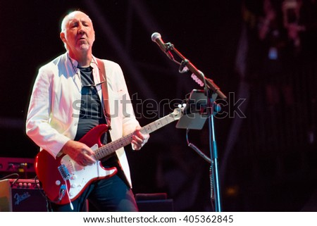 Glastonbury, Somerset, UK - June 28, 2015 - Pete Townshend of The Who Headlining Glastonbury Festival's Pyramid Stage