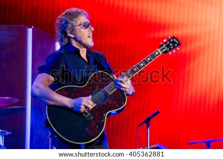 Glastonbury, Somerset, UK - June 28, 2015 - Roger Daltrey of The Who Headlining Glastonbury Festival's Pyramid Stage - stock photo