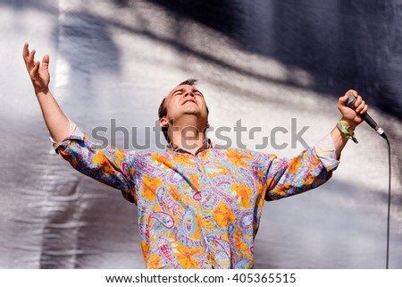 Glastonbury, Somerset, UK - June 28, 2015 - Samuel Herring of Future Islands playing Glastonbury Festival's Other Stage - stock photo