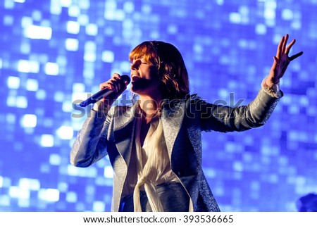 Glastonbury, Somerset, UK - June  26th, 2015 - Florence Welch of Florence and the Machine headlining Glastonbury Festival's Pyramid Stage. - stock photo