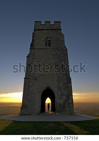 Glastonbury Tor at sundown in Somerset England - stock photo