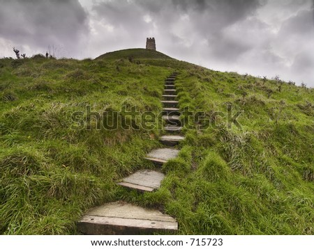 Glastonbury Tor in Somerset England - stock photo