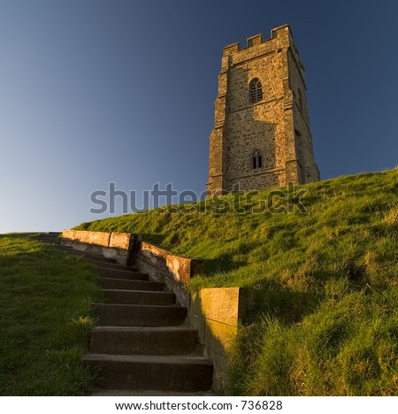 Glastonbury Tor located in Somerset England - stock photo