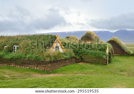 Glaumbaer, Iceland, August, 14, 2014. Nobody, houses, covered with turf