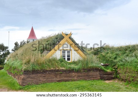 Glaumbaer, Iceland, August, 14, 2014. Nobody, the house, covered with turf