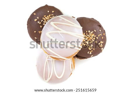 Glazed and chocolate donuts on isolated on white background with clipping path