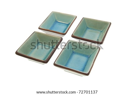 Glazed and cracked effect bowls in blue and brown