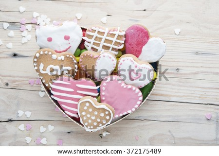 Glazed cookies on Valentine's day. From above - stock photo