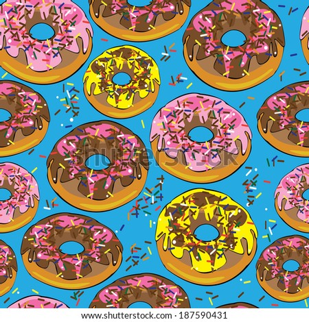 glazed donuts seamless pattern