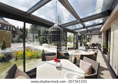 Glazed restaurant terrace