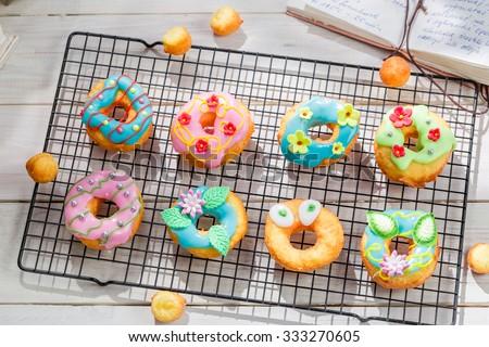 Glazed tasty donuts - stock photo