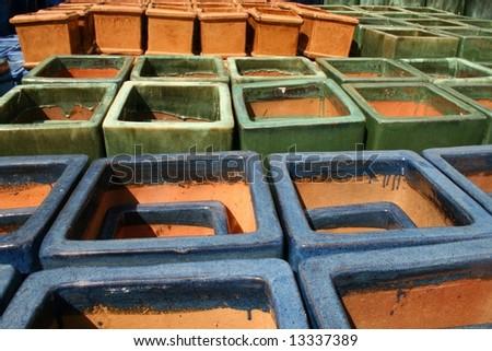Glazed Terra Cotta Planters - stock photo