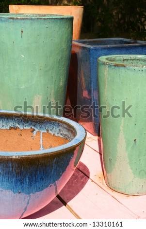 Glazed Terra Cotta Pots - stock photo