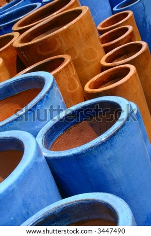 Glazed Terra-cotta Pots - stock photo