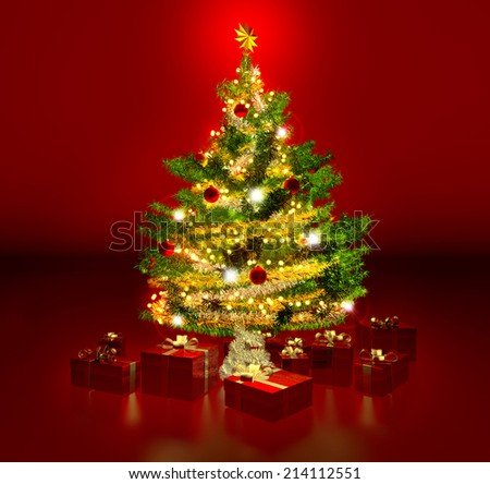 gleaming christmas tree and presents in red background - stock photo