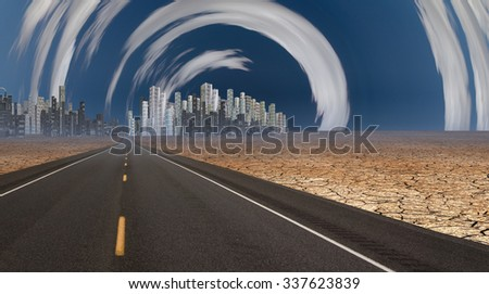 Gleaming city in desert with surreal clouds - stock photo