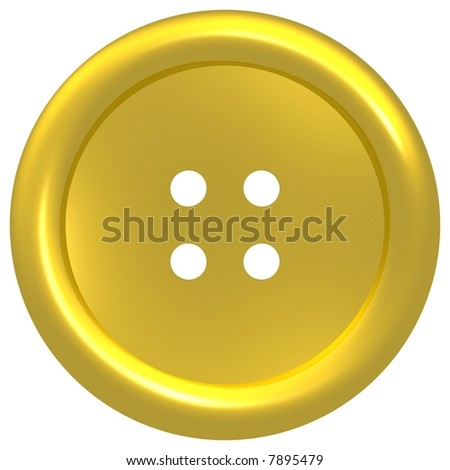 Gleaming gold button isolated on white - stock photo