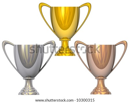 Gleaming gold, silver, and bronze trophies isolated on white - stock photo