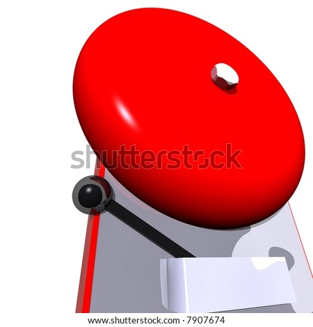 Gleaming red fire alarm - stock photo