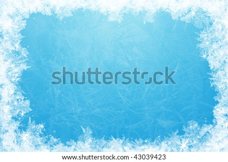 Gleaming shining ice frame, in the center of the composition frozen deep clear water - stock photo