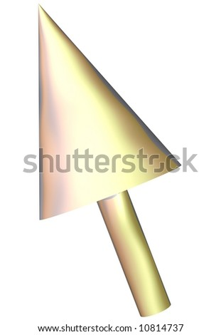 Gleaming silver mouse cursor isolated on white